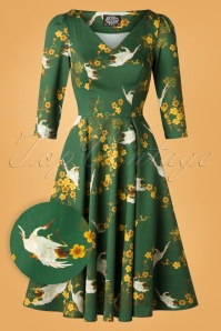 50s Bibi Blossom Swing Dress in Green