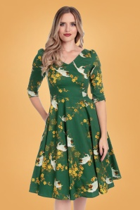 Hearts & Roses 31125 Abigail Birds Swing Dress in Green 20190917 020L