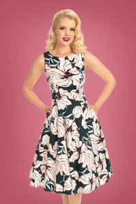 50s Emerald Floral Swing Dress in Teal and Blush