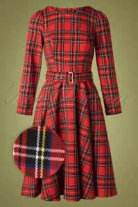 50s Highland Swing Dress in Red Tartan