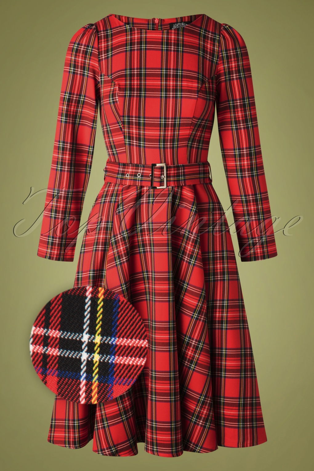 Fifties Dresses : 1950s Style Swing to Wiggle Dresses 50s Highland Swing Dress in Red Tartan £48.35 AT vintagedancer.com
