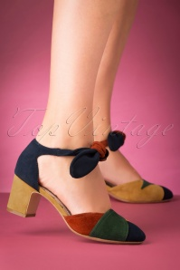 60s Clarice Suede Block Heel Pumps in Multi