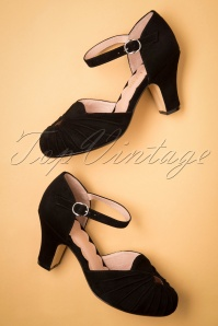 40s Amber Suede Mary Jane Pumps in Black