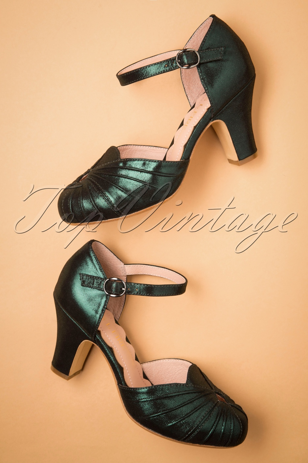 Vintage Style Shoes, Vintage Inspired Shoes 40s Amber Mary Jane Pumps in Sparkly Teal £149.08 AT vintagedancer.com