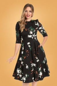 50s Diana Lilly Swing Dress in Black