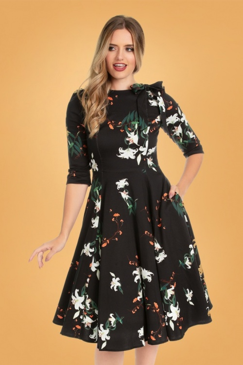 Hearts & Roses 31124 Navy Floral Swing Dress 20190917 020LW
