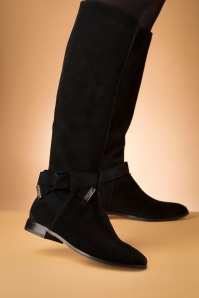 60s Sintiia High Suede Boots in Black