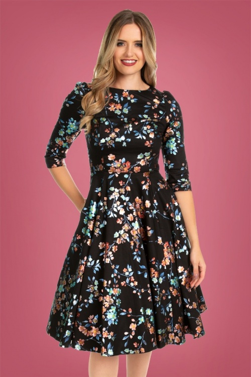 Hearts & Roses 31119 Black Small Floral Swing Dress 20190917 020L