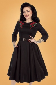 50s Highland Roses Swing Dress in Black