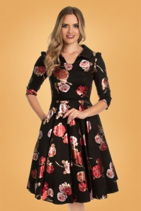 Hearts & Roses 31120 Black Red Floral Swing Dress 20190920 020LW
