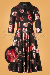Heart & Roses 31120 Black red Flower Dress 0005Z