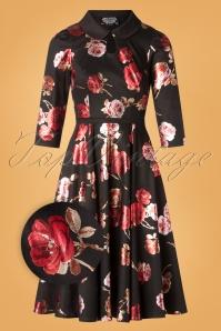 Heart & Roses 31120 Black red Flower Dress 0005Z