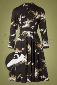 Hearts and Roses 31127 Black Birds Swing Dress 20190924 010Z