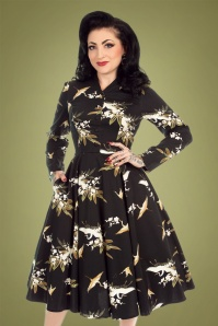 50s Birdie Floral Swing Dress in Black
