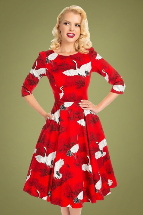 Hearts & Roses 31123 Red Floral Swing Dress 20190920 020L