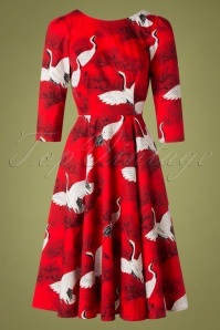 Heart & Roses 31123 Red Floral Swing Dress 0003W
