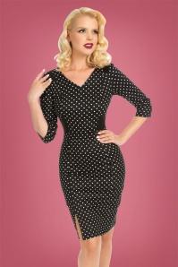 50s Cecilia Polkadot Wiggle Dress in Black