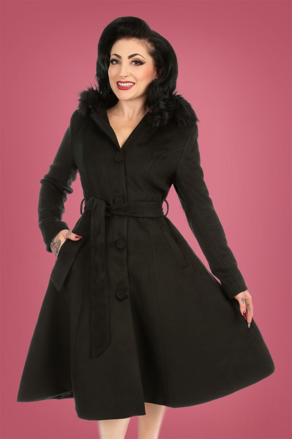 What Did Women Wear in the 1950s? 1950s Fashion Guide 50s Ella Swing Coat in Black £102.10 AT vintagedancer.com