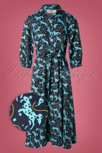 60s Lilwenn Horse Dress in Dark Navy