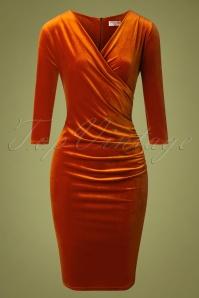 Vintage Chic 31526 Rust Velvet Pencil Dress 20190927 003W