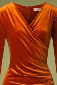 Vintage Chic 31526 Rust Velvet Pencil Dress 20190927 003V