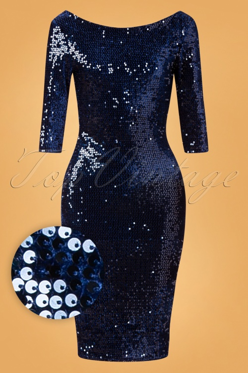 Vintage Chic 31538 Navy Blue Sequine Pencil Dress 20190927 005W1