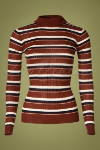 La Petite Francaise 70s Sous Stripe Roll Neck Top in Brown