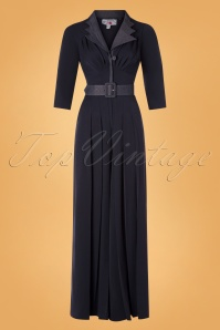 Miss Candyfloss 40s Fatou Lee Jumpsuit in Navy