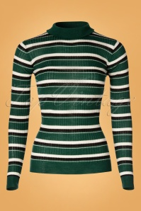 La Petite Francaise 70s Poésie Stripe Roll Neck Top in Green