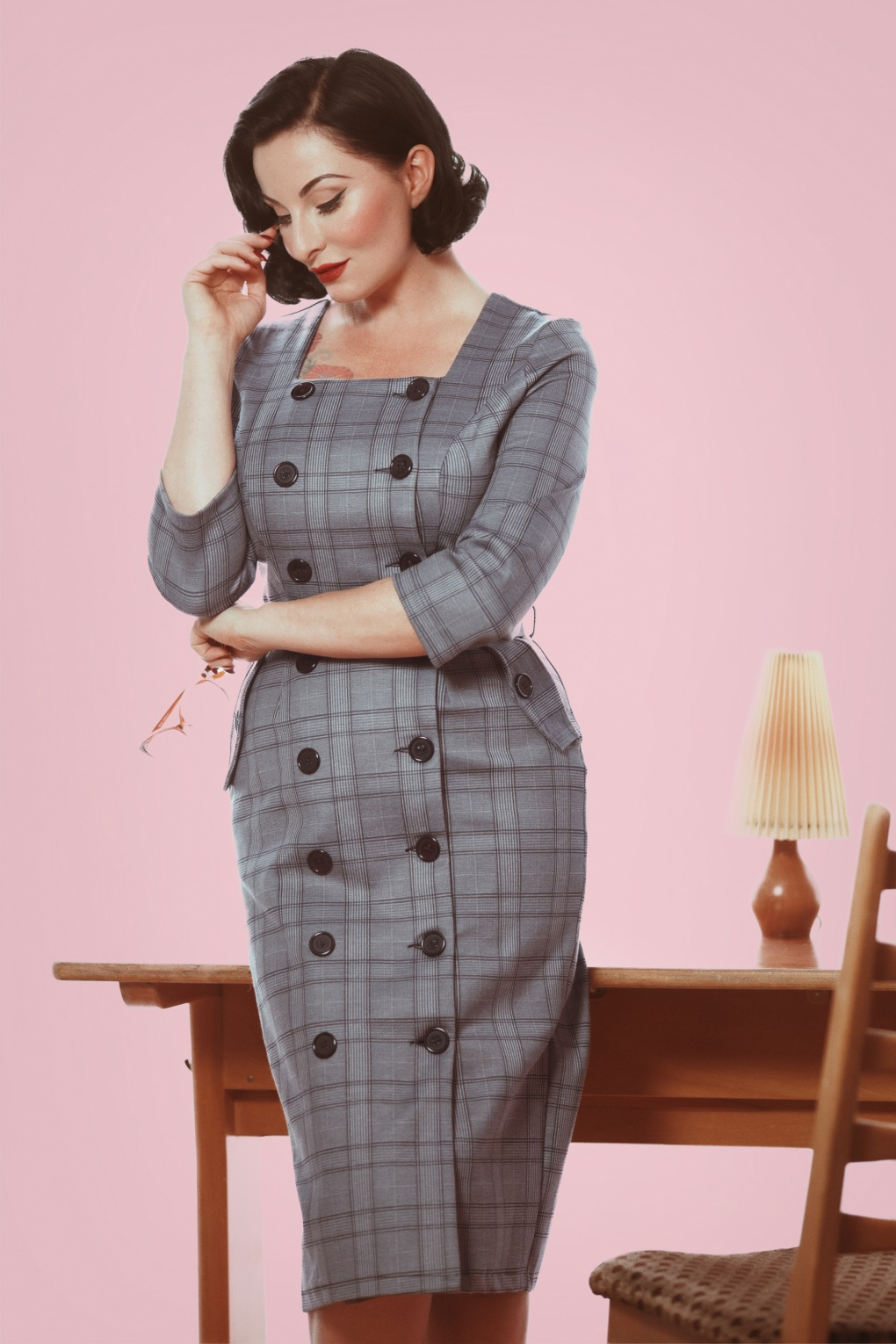 Rockabilly Dresses | Rockabilly Clothing | Viva Las Vegas 50s Jasmine Check Pencil Dress in Grey £62.97 AT vintagedancer.com