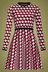 Smashed Lemon 60s Celie Geometric Dress in Red and Black