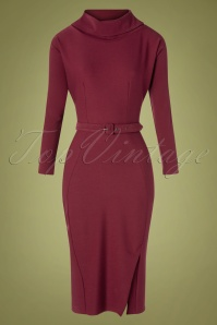 Miss Candyfloss 31025 Pencildress Wine Red Longsleeve 07102019 000006W