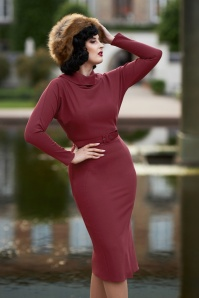 50s Blythe Bo Dolman Wiggle Dress in Wine