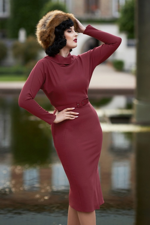 Miss Candyfloss 31025 Pencil Dress Long Sleeve in Wine 20190923 020L