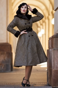 50s Hazel Dora Houndstooth Winter Trench Coat in Black
