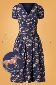 Sheen 50s Wild Horses Dress in Navy