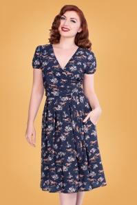 Sheen 30960 Wild Horses Dress in Navy 20190722 020LW