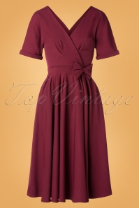 Caricia Swing Dress Années 50 en Bordeaux