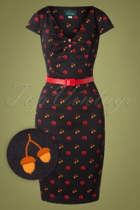 50s Irene Hollynuts Pencil Dress in Black