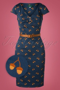 50s Irene Hollynuts Pencil Dress in Navy