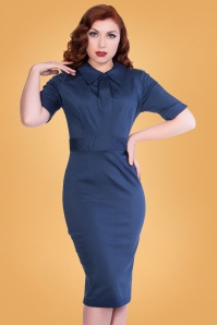 Odette Pencil Dress Années 50 en Bleu Marine