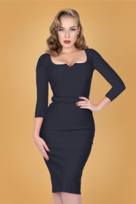 Caroline Pencil Dress Années 50 en Bleu Marine
