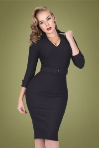 50s Elizabeth Pencil Dress in Dark Navy