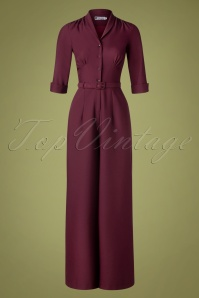 Daisy Dapper 40s Francine Jumpsuit in Burgundy