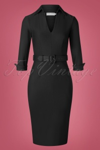 50s Elizabeth Pencil Dress in Black