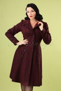 Macie Herringbone Coat Années 50 en Bordeaux et Noir