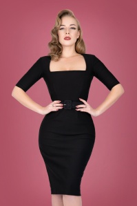 50s Paris Pencil Dress in Black