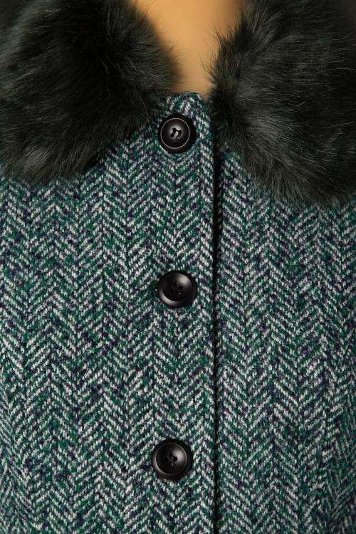 50s Erin Herringbone Coat in Green Vintage jassen.nl