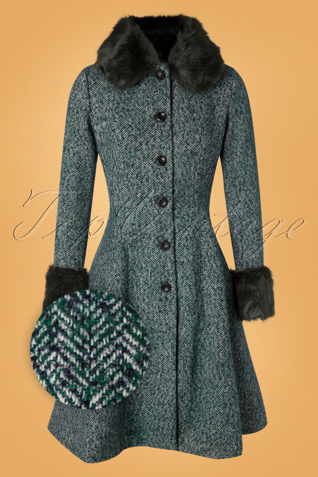 1950s Jackets, Coats, Bolero | Swing, Pin Up, Rockabilly 50s Erin Herringbone Coat in Green £133.29 AT vintagedancer.com