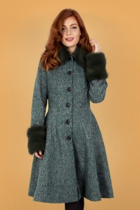 Vixen 30954 Erin Herringbone Coat in Green 20190528 020LW